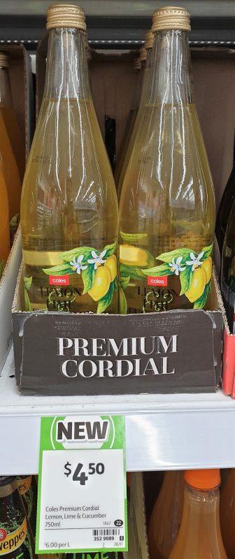 Coles 750mL Cordial Lemon, Lime & Cucumber