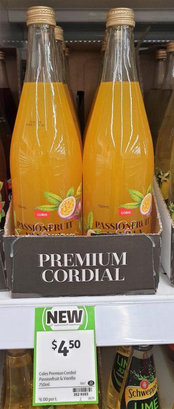 Coles 750mL Cordial Passiofruit & Vanilla
