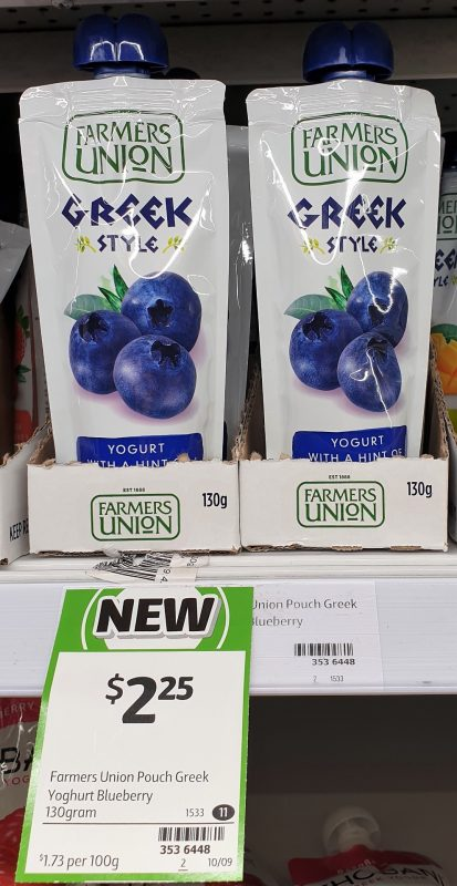 Farmers Union 130g Yogurt Greek Style Blueberry