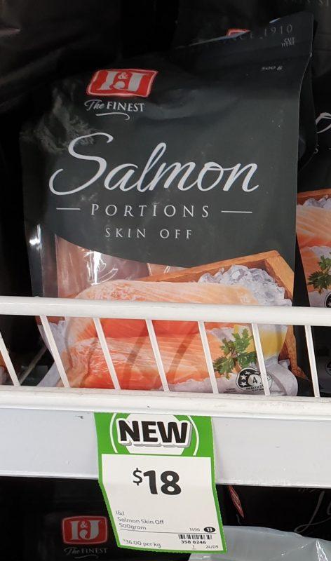 I&J 500g Salmon Portions Skin Off