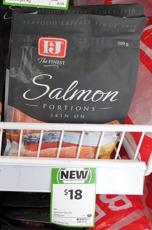 I&J 500g Salmon Portions Skin On