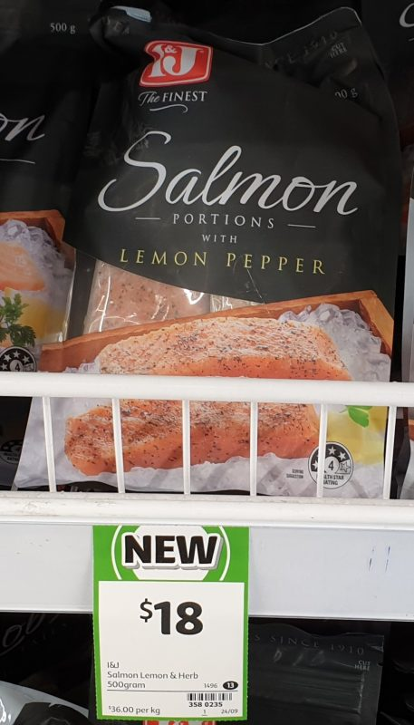 I&J 500g Salmon Portions With Lemon Pepper
