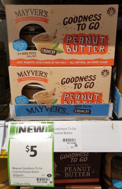 Mayver's 240g Goodness To Go Peanut Butter Crunchy