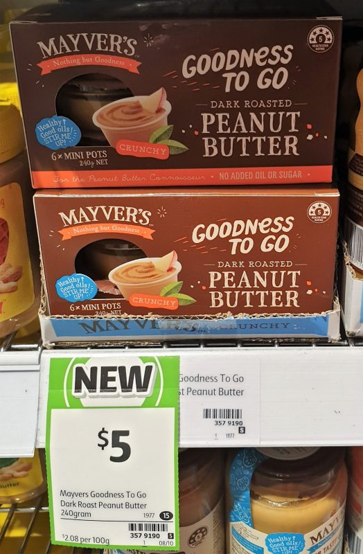 Mayver's 240g Goodness To Go Peanut Butter Dark Roasted Crunchy