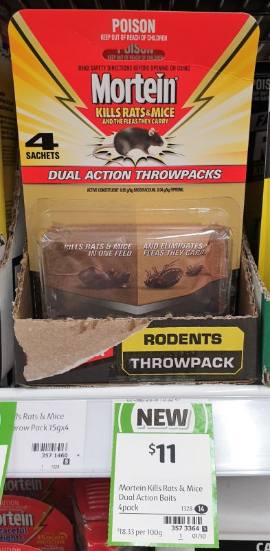 Mortein 4 Pack Throwpacks Dual Action Kills Rats & Mice