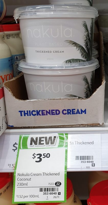 Nakula 230mL Plant Based Thickened Cream