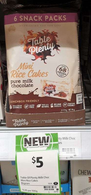Table Of Plenty 84g Rice Cakes Mini Milk Chocolate