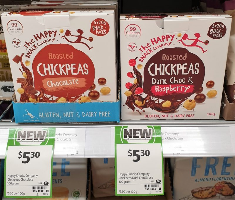The Happy Snack Company 100g Chickpeas Roasted Chocolate, Dark Choc & Raspberry