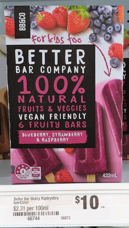 Better Bar Company 432mL Fruity Bars Blueberry, Strawberry & Raspberry