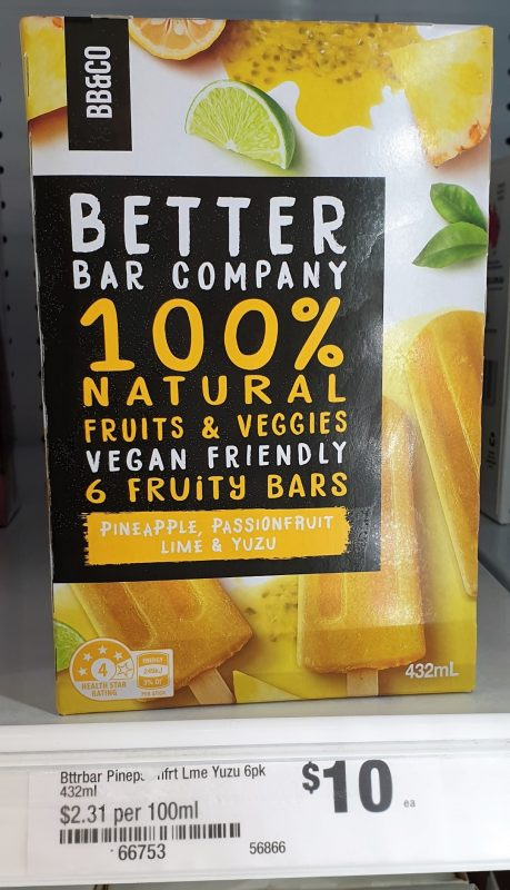 Better Bar Company 432mL Fruity Bars Pineapple, Passionfruit, Lime & Yuzu