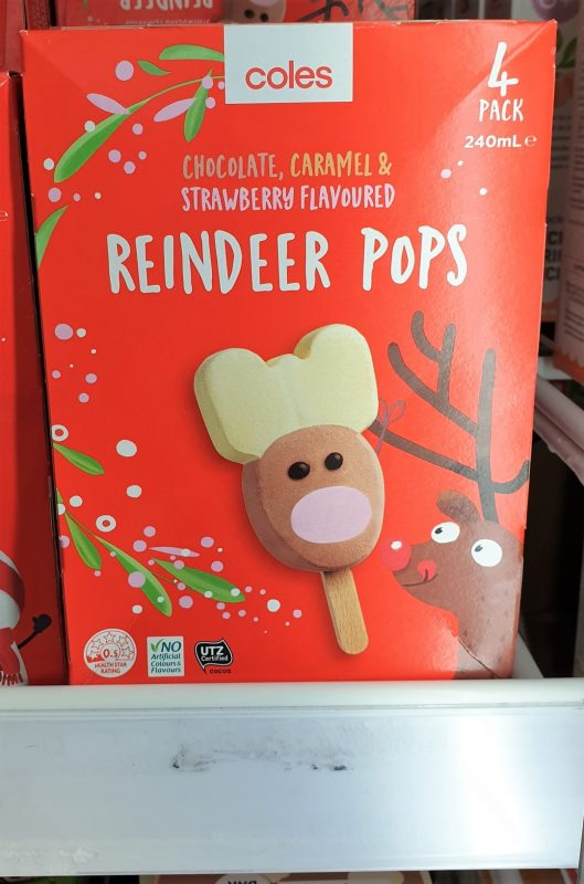 Coles 240mL Pops Reindeer Chocolate, Caramel & Strawberry Flavoured
