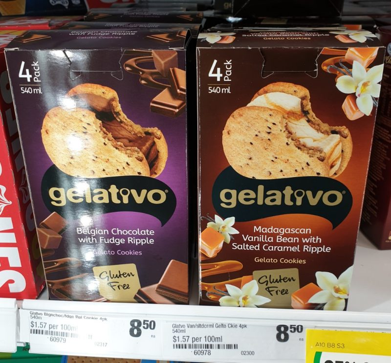 Gelativo 540mL Gelato Cookies Belgain Chocolate With Fudge Ripple, Madagascan Vanilla Bean With Salted Caramel Ripple