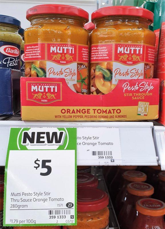 Mutti 280g Pesto Style Stir Through Sauce Orange Tomato
