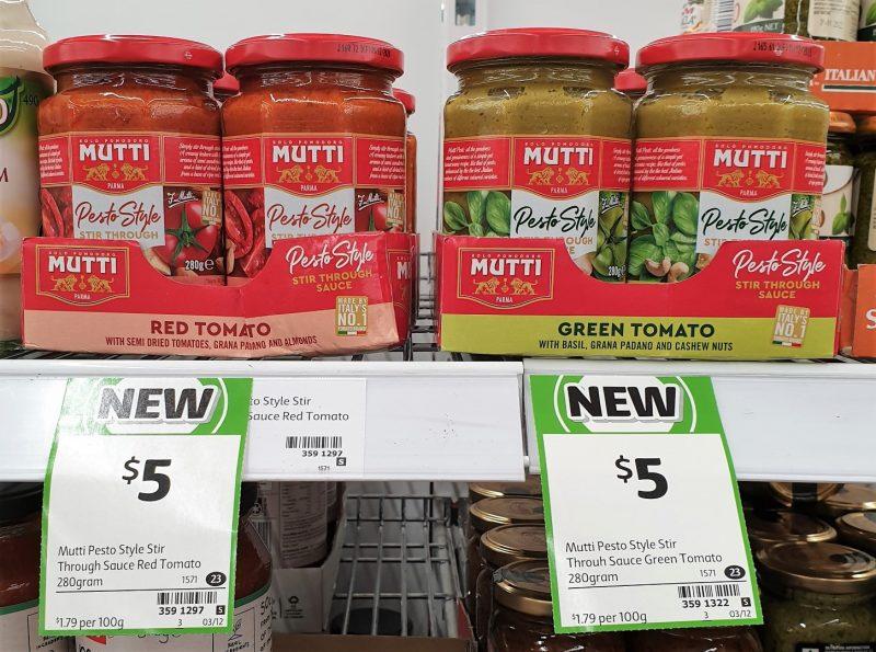 Mutti 280g Pesto Style Stir Through Sauce Tomato Red, Green