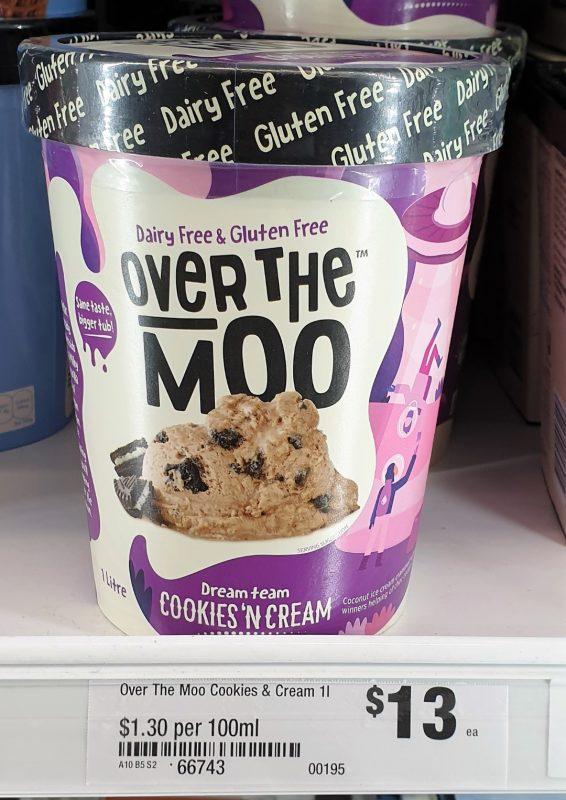 Over The Moo 1L Coconut Ice Cream Cookies 'N Cream
