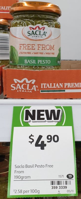 Sacla 190g Free From Basil Pesto