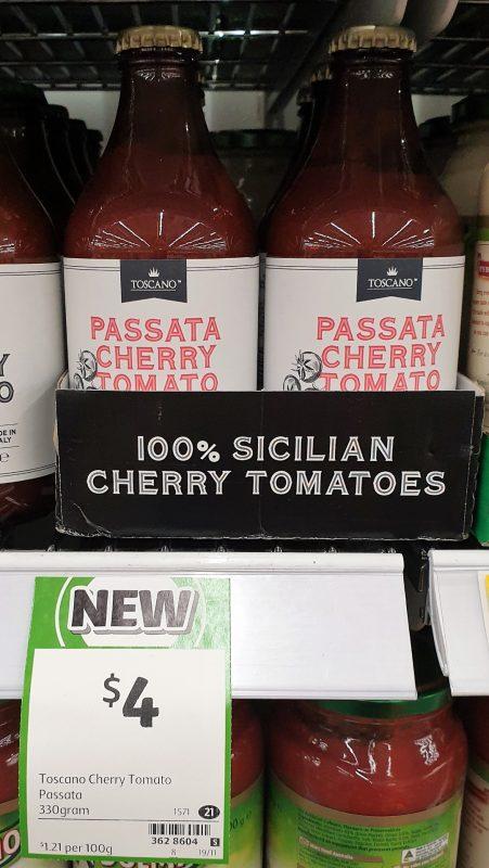 Toscano 330g Sauce Passata Cherry Tomato