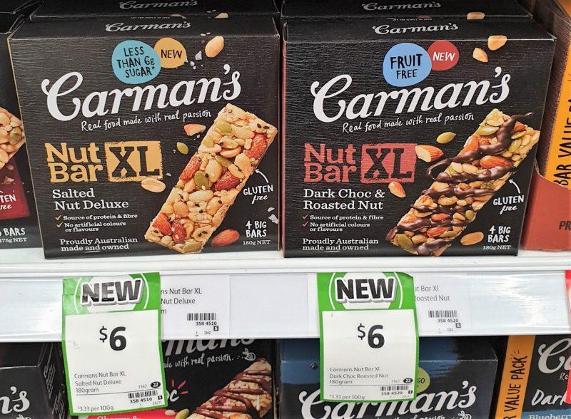 Carman's 175g Nut Bar XL Salted Nut Deluxe, Dark Choc & Roasted Nut