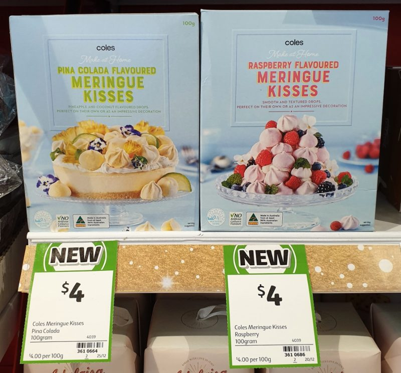Coles 100g Make At Home Meringue Kisses Flavoured Pina Colada, Raspberry