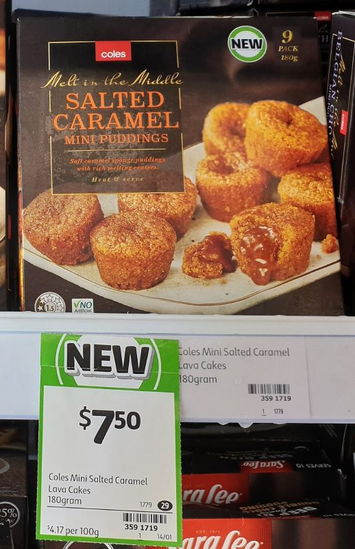 Coles 180g Mini Puddings Salted Caramel