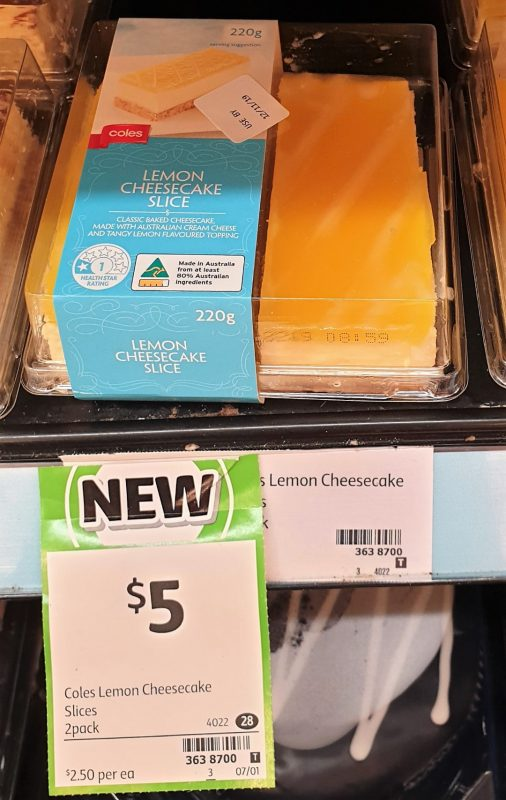 Coles 220g Cheesecake Lemon Slice