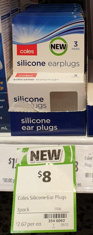 Coles 3 Pack Earplugs Silicone