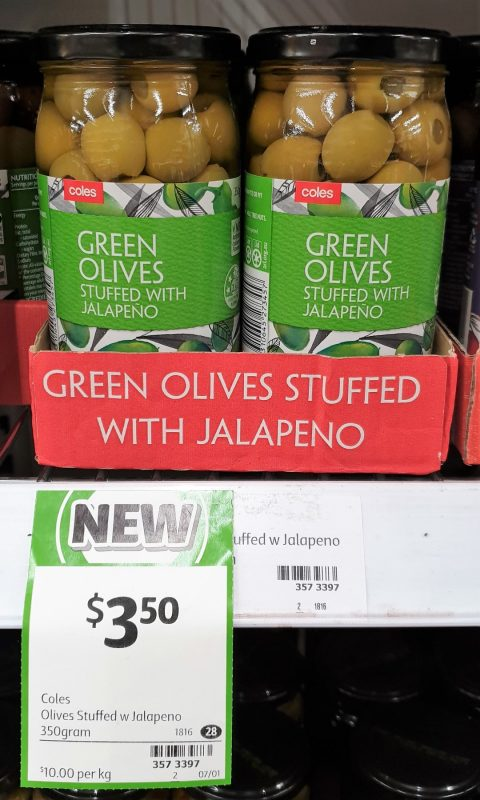 Coles 350g Green Olives Stuffed With Jalapeno