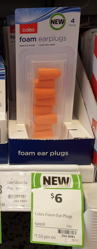 Coles 4 Pack Earplugs Foam