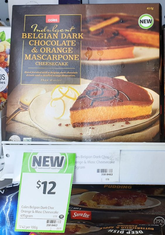Coles 495g Cheesecake Belgian Dark Chocolate & Orange Mascarpone