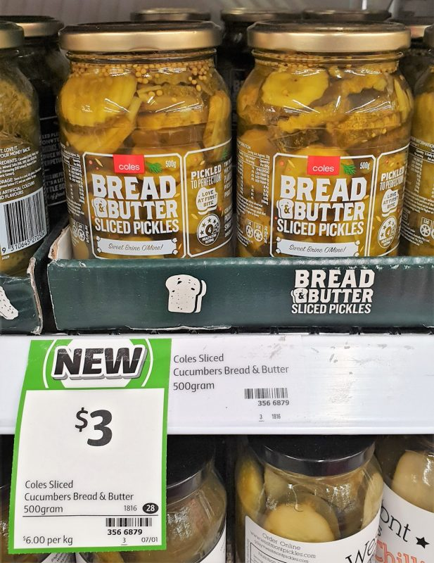 Coles 500g Pickles Sliced Bread Butter