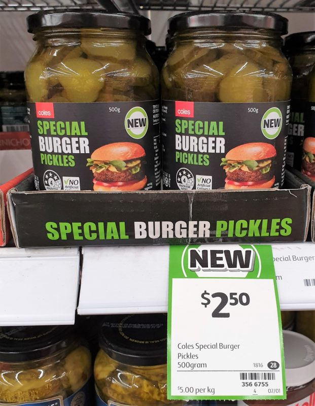 Coles 500g Pickles Special Burger