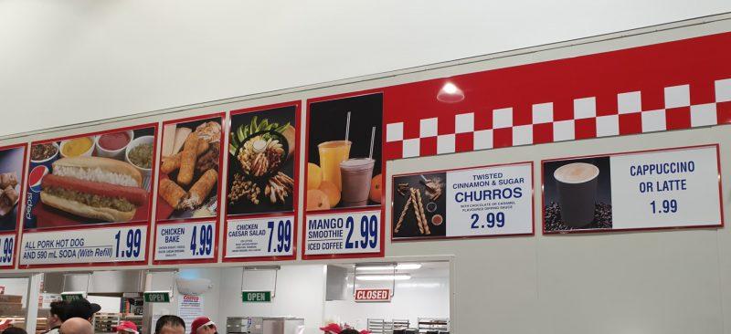 Costco Foodcourt Menu Board Australia Nov 2019