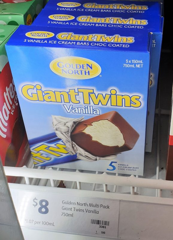 Golden North 750mL Ice Cream Bars Giant Twins Vanilla