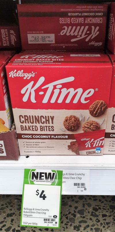 Kellogg's 150g K Time Baked Bites Crunchy Choc Coconut Flavour