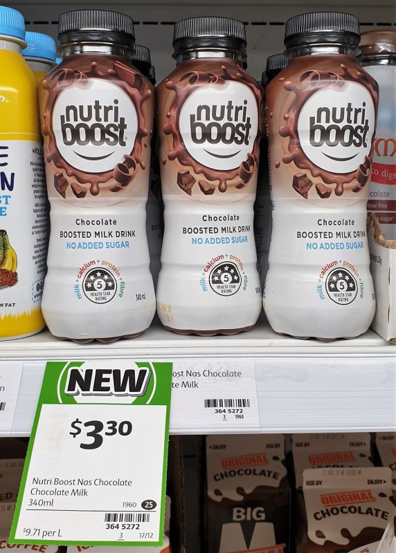 Nutri Boost 340mL Milk Drink No Added Sugar Chocolate
