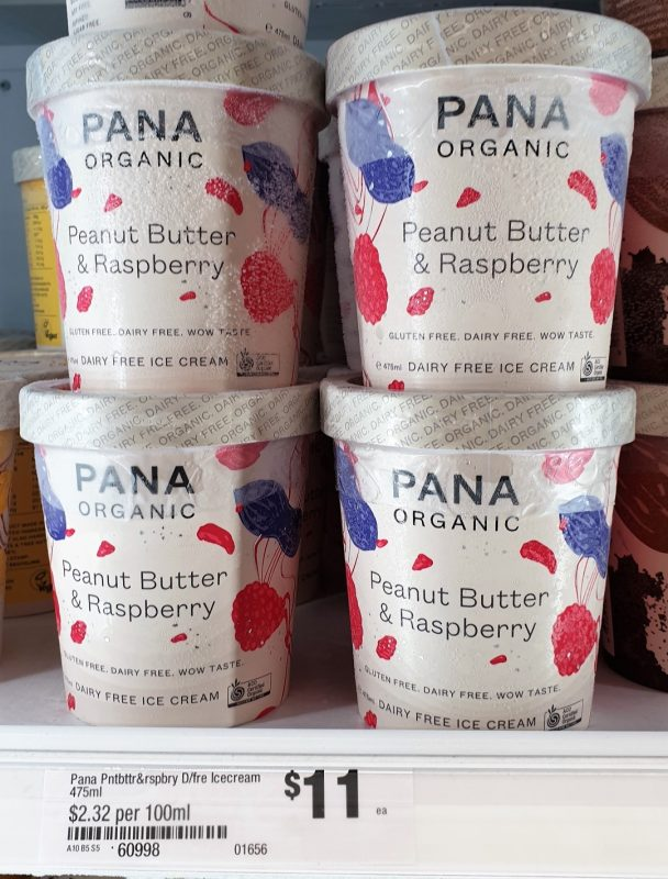 Pana Organic 475mL Dairy Free Ice Cream Peanut Butter & Raspberry