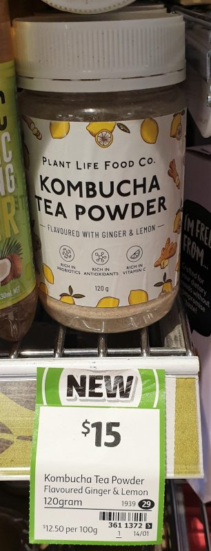 Plant Life Food Co 120g Kombucha Tea Powder Finger & Lemon Flavoured