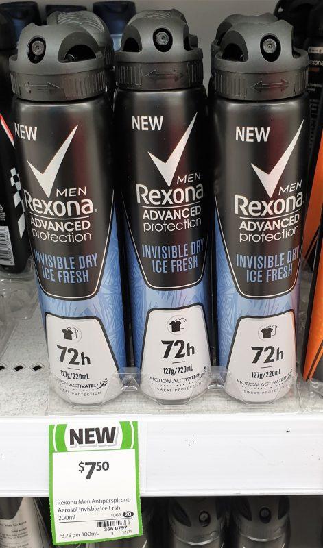 Rexona 200mL Men Antiperspirant Invisible Dry Ice Fresh