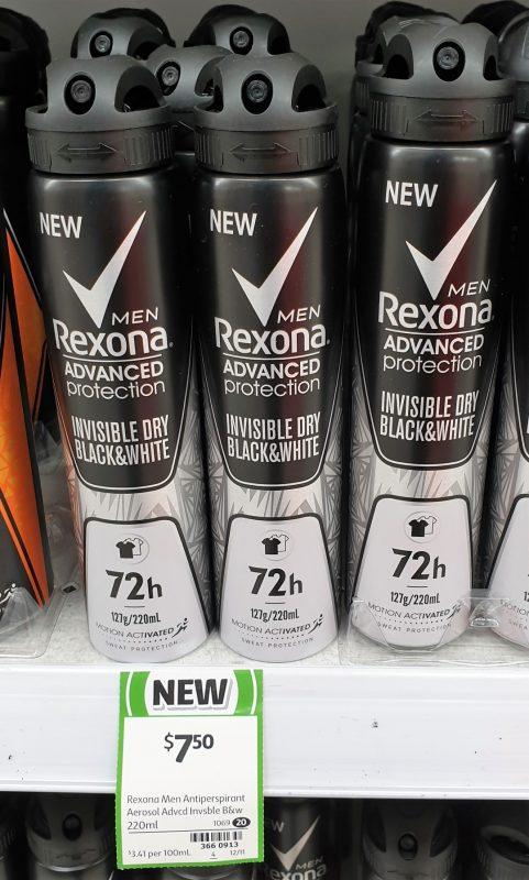 Rexona 220mL Men Antiperspirant Invisible Dry Black & White