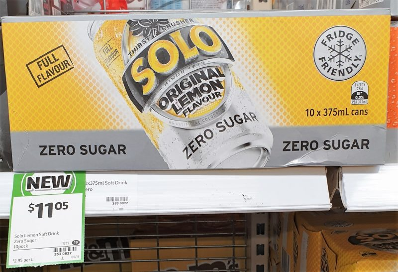 Solo 10 X 375mL Original Lemon Zero Sugar