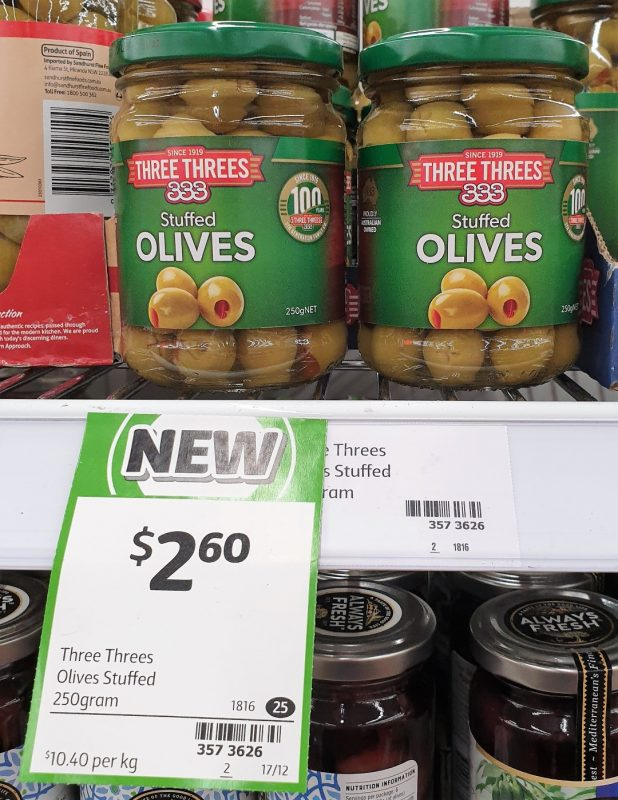 Three Threes 250g Olives Stuffed