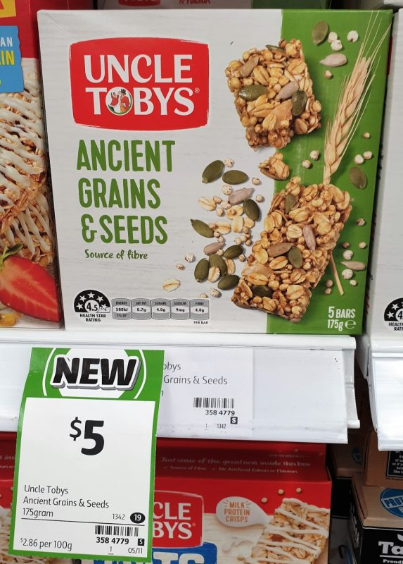 Uncle Tobys 175g Bars Ancient Grains & Seeds