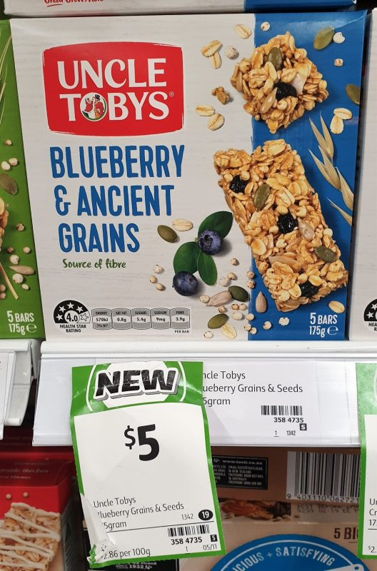 Uncle Tobys 175g Bars Blueberry & Ancient Grains