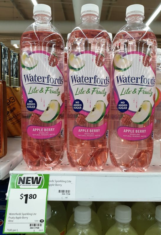 Waterford's 1L Lite & Fruity Sparkling Mineral Water Apple Berry