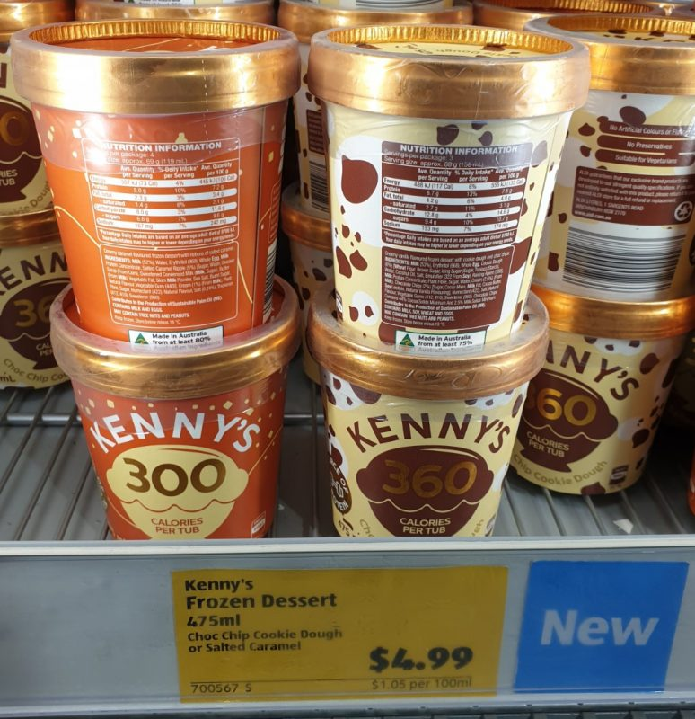 Aldi 475mL Kenny's Frozen Dessert Salted Caramel, Chocolate Chip Cookie Dough