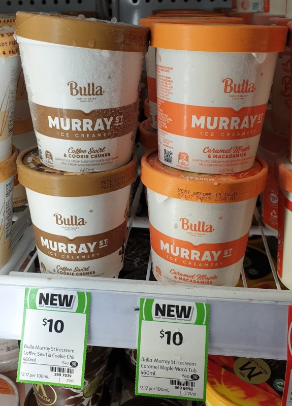 Bulla 460mL Murray St Ice Creamery Coffee Swirl & Cookie Chunks, Caramel Maple & Macadamias