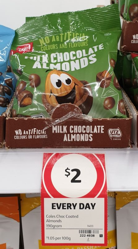 Coles 190g Almonds Milk Chocolate