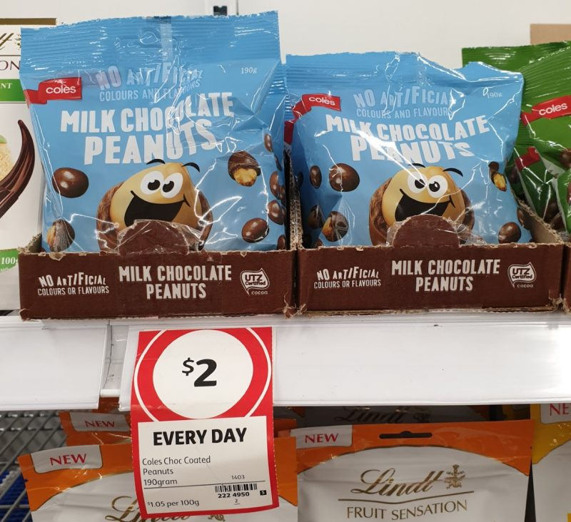 Coles 190g Peanuts Milk Chocolate