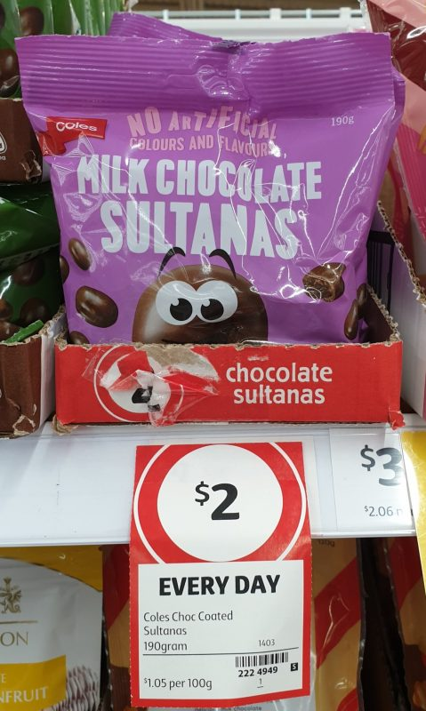 Coles 190g Sultanas Milk Chocolate