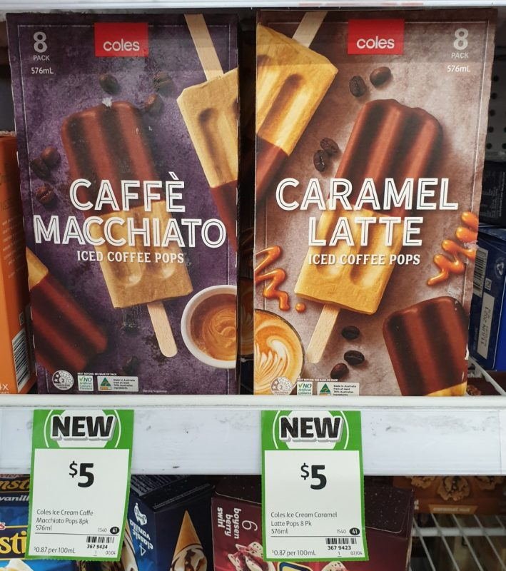 Coles 576mL Iced Coffee Pops Caffe Macchiato, Caramel Latte